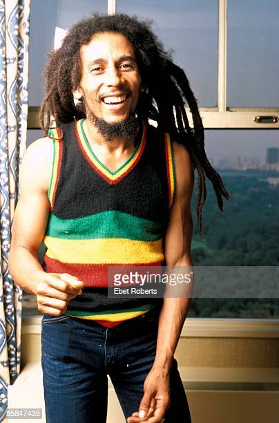 Photo of Bob MARLEY Posed portrait of Bob Marley The photograph was taken in his hotel room at the St Moritz Hotel on September 21 1980