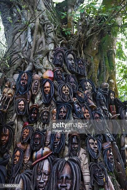 Bob Marley tree ornaments at entrance to Dunn's River Falls.