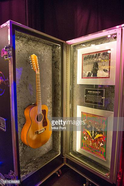Bob Marley's Guild 12 string guitar on display at Hard Rock's 'Gone Too Soon' and 'Music Gives Back' Media Preview Day at Hard Rock Cafe New York on...