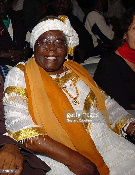 Bob Marley's mother Cedella M Booker poses at the premiere of the film 'Bob Marley Friends' at the Colony Theater on March 9 2006 in Miami Beach...