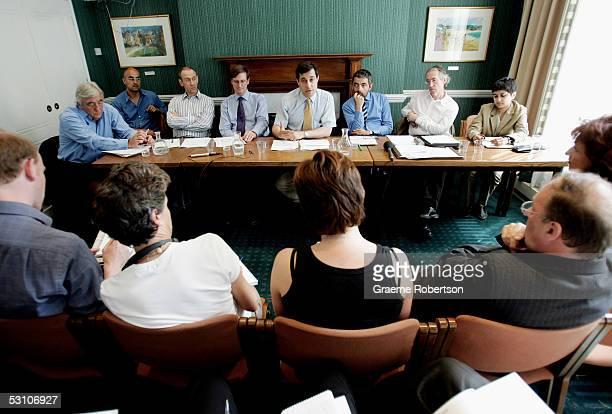 Bob MarshallAndrews Hari Kunzru Nick Hytner Dominic Grieve Dr Evan Harris Rowan Atkinson Ian McEwan and Shami Chakrabati attend a press conference...