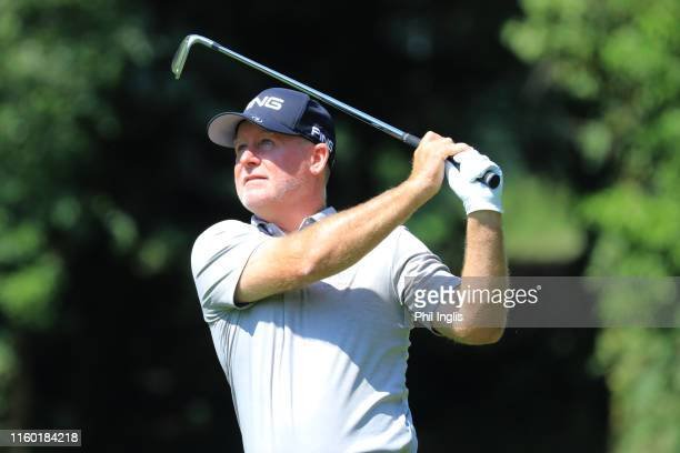 Bob May of United Staes in action during the first round of the Swiss Seniors Open played at Golf Club Bad Ragaz on July 05, 2019 in Bad Ragaz,...
