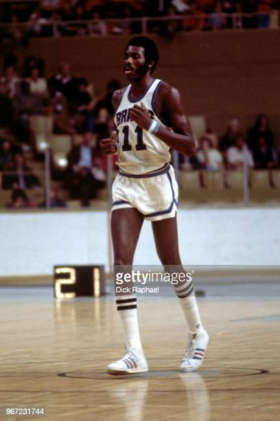 Bob McAdoo of the Buffalo Braves during the game against the Boston Celtics circa 1974 at the Buffalo Memorial Auditorium in Buffalo New York NOTE TO...