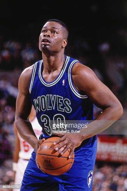 Bob McCann of the Minnesota Timberwolves shoots against the New York Knicks during a game played circa 1993 at the Madison Square Garden in New York...