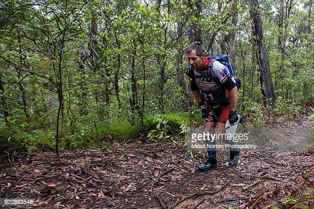Bob Mclachlan from Team Peak Adventure hiking up to 'The Castle' in Morton National Park during the Adventure Race World Championship on November 11...