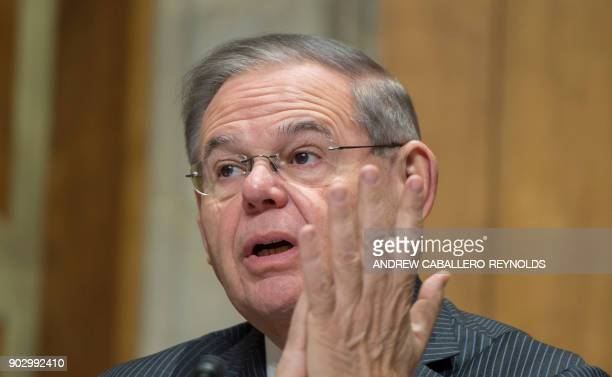 Bob Menendez speaks during a foreign relations hearing in Washington DC on January 9 on the attacks on US diplomats in Cuba The United States is to...