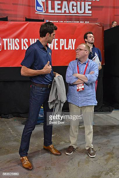 Bob Meyers of the Golden State Warriors and David Griffin of the Cleveland Cavaliers have a conversation during the 2016 NBA Las Vegas Summer League...