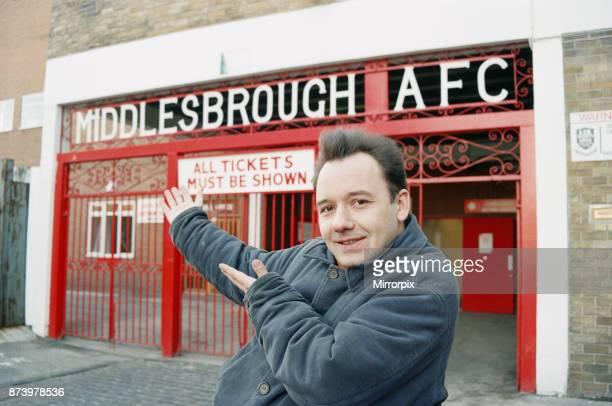 Bob Mortimer at Ayresome Park, Middlesbrough FC's football ground, circa 1994.