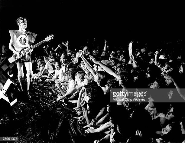 Bob Mothersbaugh of the new wave punk music group 'Devo' performs onstage in circa 1979 in Los Angeles California