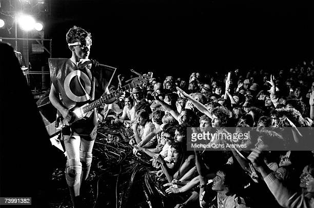 Bob Mothersbaugh of the new wave punk music group Devo performs onstage in circa 1979 in Los Angeles California
