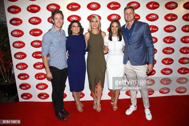 Bob Murphy Kelli Underwood Sarah Jones Neroli Meadows and Nick Riewoldt pose during the 2018 FOX FOOTY AFL Season Launch on March 7 2018 in Melbourne...