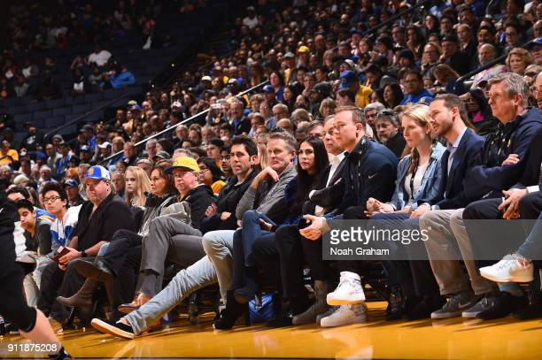 Bob Myers and Steve Kerr of the Golden State Warriors attend the game between the Santa Cruz Warriors and the Austin Spurs on January 28 2018 at...