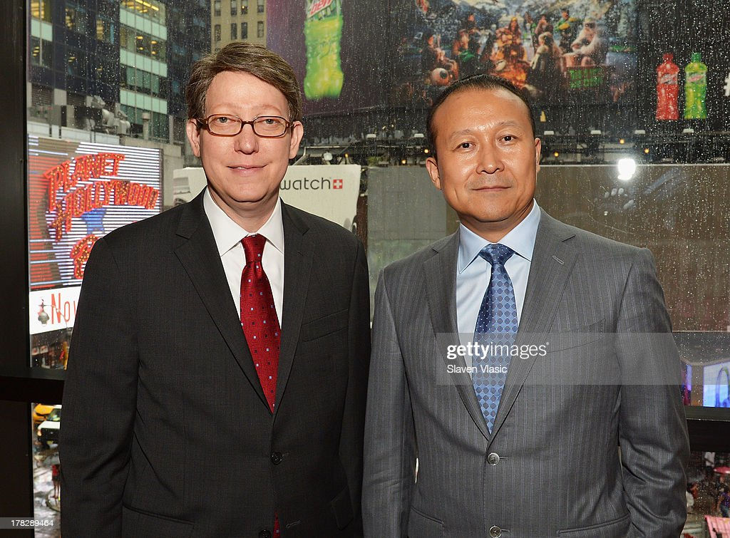 Bob Nederlander, Jr. (L), President & CEO, Nederlander Worlwide Entertainment and Wang Yong, President, Qinhuang Grand Theater Performing Art Co, Ltd attend the announcement of a new spectacular entertainment and travel destination in China located in Xi'An on site of the legendary Terra Cotta Warriors & Horses, at Minskoff Theatre on August 28, 2013 in New York City.