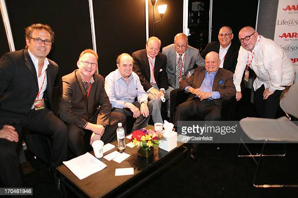 Bob Newhart and Don Rickles pose with their managers agents and publicists Joseph Bongiovi Chris Burke Bob Newhart Tony O Paul Shefrin Don Rickles...