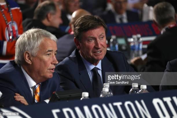 Bob Nicholson CEO and Vice Chairman of the Edmonton Oilers and Wayne Gretzky Vice Chairman of the Edmonton Oilers look on during Round One of the...