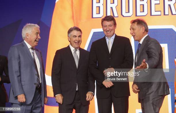 Bob Nicholson Dave Tippett Wayne Gretzky and Ken Holland of the Edmonton Oilers attend the 2019 NHL Draft at the Rogers Arena on June 21 2019 in...