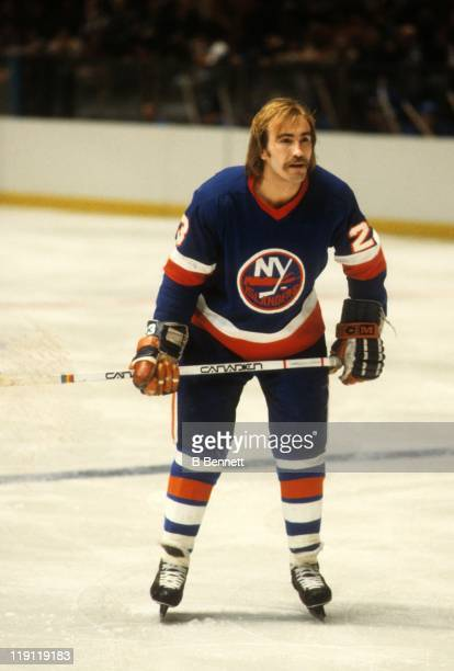 Bob Nystrom of the New York Islanders skates on the ice during an NHL game against the New York Rangers circa 1978 at the Madison Square Garden in...