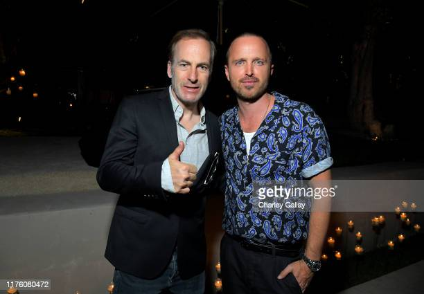 Bob Odenkirk and Aaron Paul attend Ted Sarandos' 2019 Annual Netflix Emmy Nominee Toast at a private residence on September 20, 2019 in Los Angeles,...