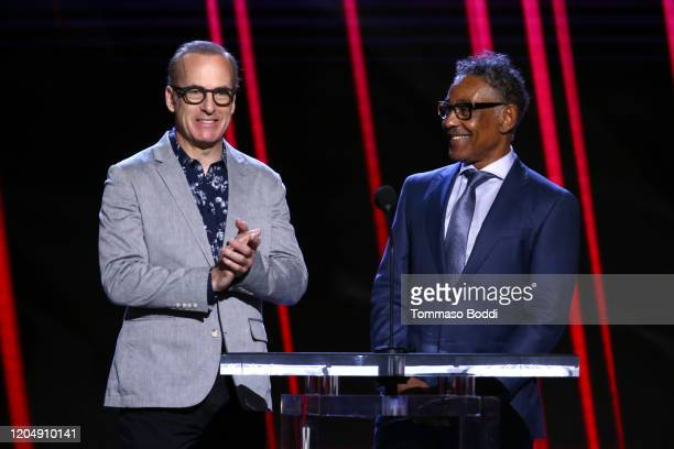 Bob Odenkirk and Giancarlo Esposito speak onstage during the 2020 Film Independent Spirit Awards on February 08, 2020 in Santa Monica, California.