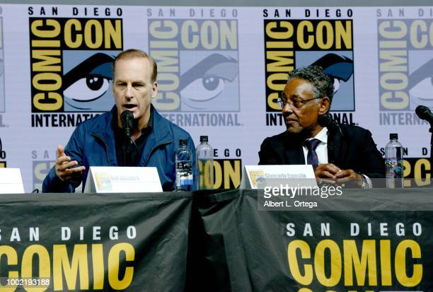 Bob Odenkirk and Giancarlo Esposito speak onstage during the 'Breaking Bad' 10th Anniversary Celebration during ComicCon International 2018 at San...