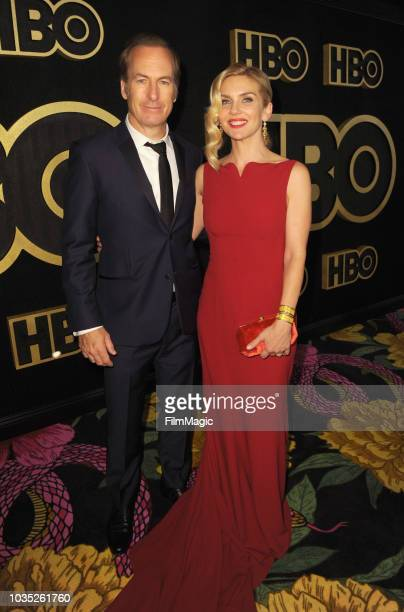 Bob Odenkirk and Rhea Seehorn arrive at HBO's Official 2018 Emmy After Party on September 17 2018 in Los Angeles California