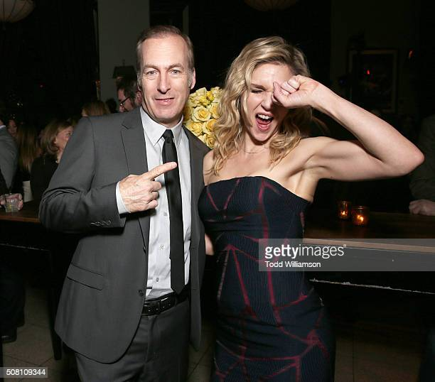 Bob Odenkirk and Rhea Seehorn attend AMC's 'Better Call Saul' Season 2 Premiere at ArcLight Cinemas on February 2 2016 in Culver City California
