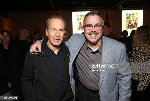 """Bob Odenkirk and Vince Gilligan attend the premiere of AMC's """"Better Call Saul"""" Season 5 After Party on February 05, 2020 in Los Angeles, California."""