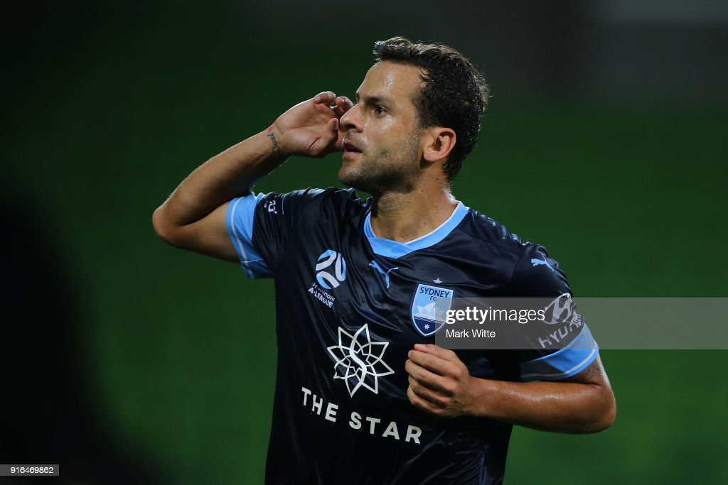 Bobô of Sydney FC celebrates a goal from a penalty kick during the round 20 A-League match between Melbourne City and Sydney FC at AAMI Park on February 10, 2018 in Melbourne, Australia.