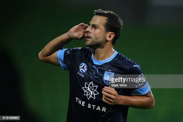 Bobô of Sydney FC celebrates a goal from a penalty kick during the round 20 ALeague match between Melbourne City and Sydney FC at AAMI Park on...
