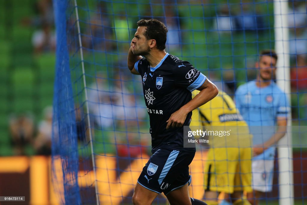 Bobô of Sydney FC reacts to the crowd after scoring a goal during the round 20 A-League match between Melbourne City and Sydney FC at AAMI Park on February 10, 2018 in Melbourne, Australia.