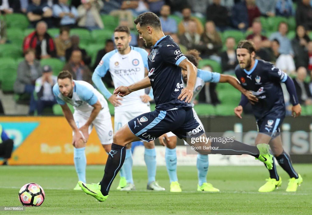 Bob of Sydney FC scores their first goal during the round 21 A-League match between Melbourne City and Sydney FC at AAMI Park on February 24, 2017 in Melbourne, Australia.