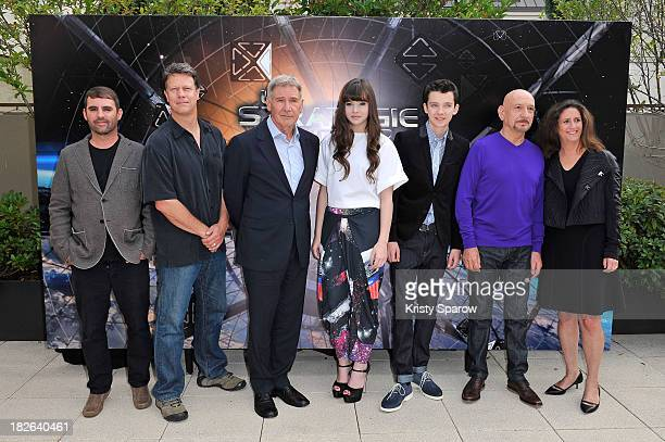 Bob Orci Gavin Hood Harrison Ford Hailee Steinfeld Asa Butterfield Sir Ben Kingsley and Gigi Pitzker attend the 'Ender's Game' Photocall at the...