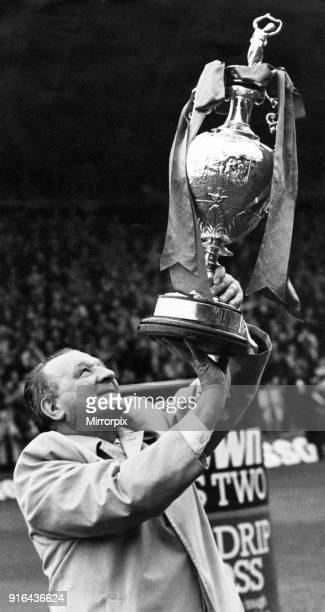 Bob Paisley holds aloft the First Division trophy in his final season as Liverpool manager 8th May 1983