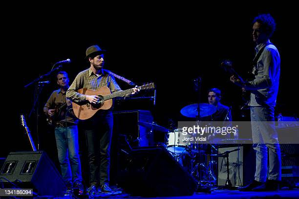 Bob Parins Andy Cabic Otto Hauser and Daniel Hindman of Vetiver perform on stage at L'Auditori during the San Miguel Primavera Club Festival 2011 on...