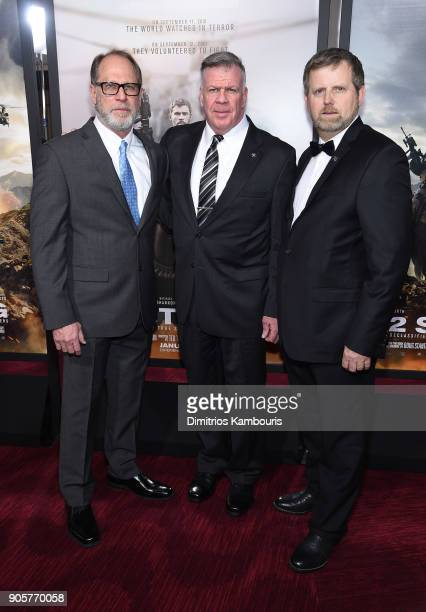"Bob Pennington, Lieutenant General John F. Mulholland, and Mark Nutsch attend the world premiere of ""12 Strong"" at Jazz at Lincoln Center on January..."
