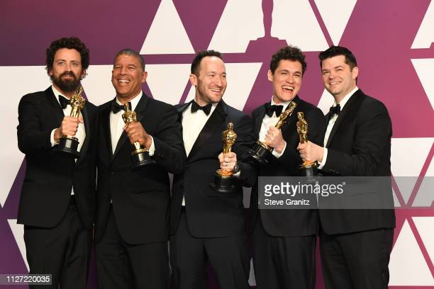 Bob Persichetti Peter Ramsey Rodney Rothman Phil Lord and Christopher Miller winners of Best Animated Feature Film for 'SpiderMan Into the...
