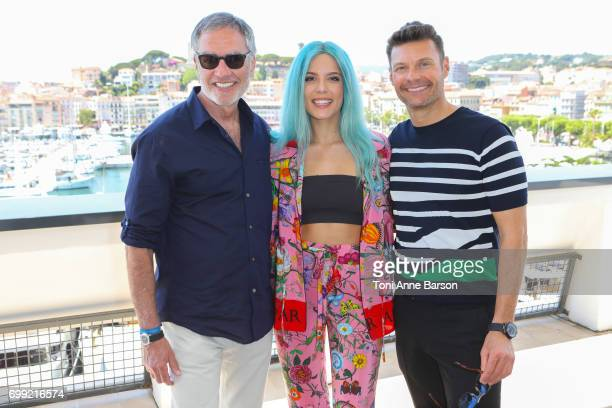 Bob Pittman Chairman and CEO of iHeartMedia Inc Halsey and Ryan Seacrest pose after iHeartMedia's fireside chat about driving creativity and success...