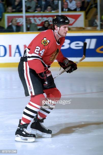 Bob Probert of the Chicago Black Hawks skates against the Toronto Maple Leafs on January 24 1996 at Maple Leaf Gardens in Toronto Ontario Canada