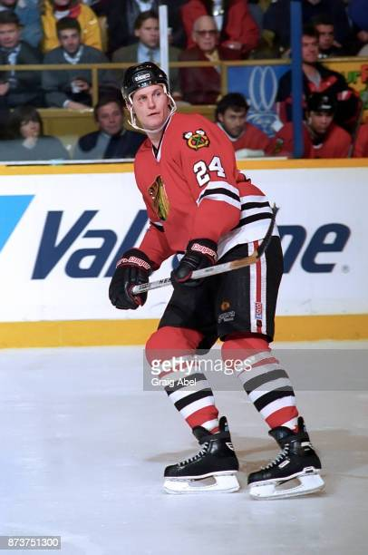 Bob Probert of the Chicago Black Hawks skates against the Toronto Maple Leafs during NHL game action on December 20 1995 at Maple Leaf Gardens in...