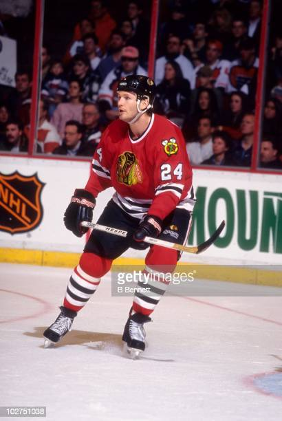 Bob Probert of the Chicago Blackhawks goes to the front of the net during an NHL game against the Philadelphia Flyers on February 25 1996 at the...