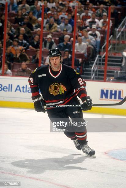 Bob Probert of the Chicago Blackhawks skates on the ice during an NHL game against the Philadelphia Flyers on February 22 2000 at the First Union...