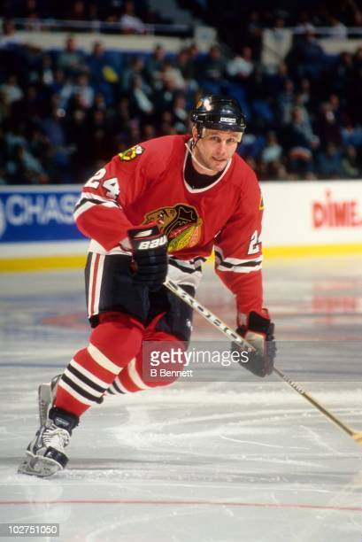 Bob Probert of the Chicago Blackhawks skates on the ice during an NHL game circa January 1999