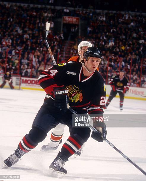 Bob Probert of the Chicago Blackhawks waits for a pass during an NHL game against the Philadelphia Flyers on February 22 2000 at the First Union...