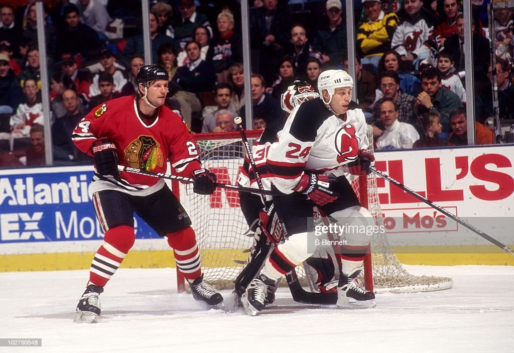 Bob Probert of the Chicago Blackhawks waits for the puck in front of ... aad4a19f1