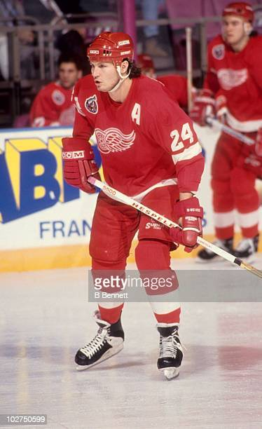 Bob Probert of the Detroit Red Wings skates on the ice during an NHL game circa 1992