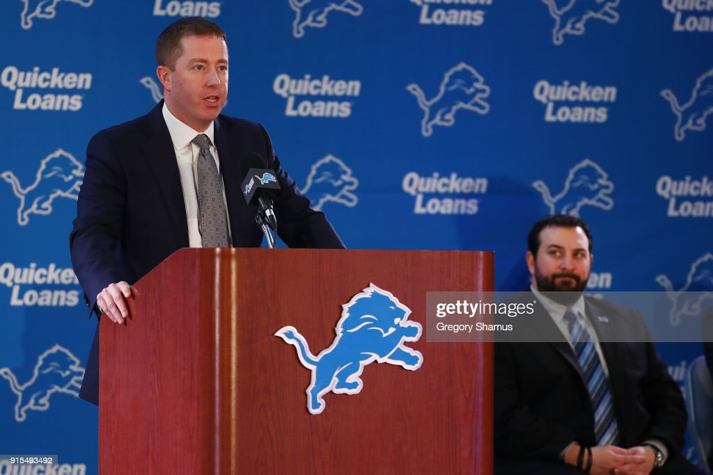 Bob Quinn General Manager of the Detroit Lions introduces Matt Patricia as the Lions new head coach at the Detroit Lions Practice Facility on February 7, 2018 in Allen Park, Michigan.