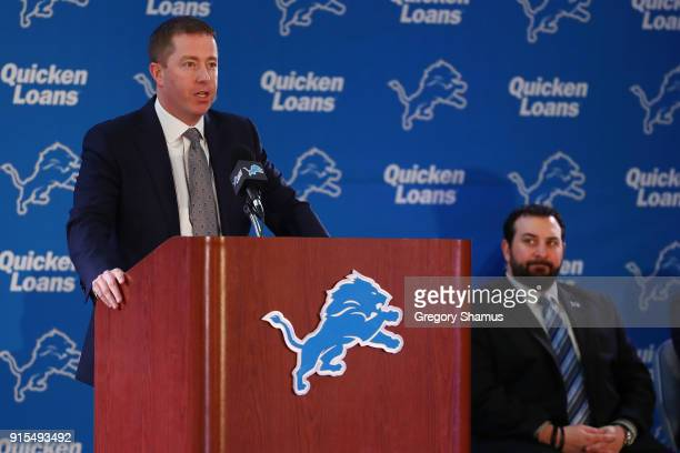 Bob Quinn General Manager of the Detroit Lions introduces Matt Patricia as the Lions new head coach at the Detroit Lions Practice Facility on...