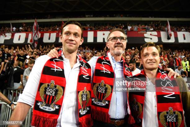 Bob Ratcliffe CEO INEOS Football, Sam and Georges Ratcliffe sons of Jim during the Ligue 1 match between OGC Nice and Olympique de Marseille on...