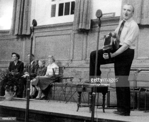 Bob Roberts playing the melodion, English Folk Music Festival, Cecil Sharp House, London, October 1957.