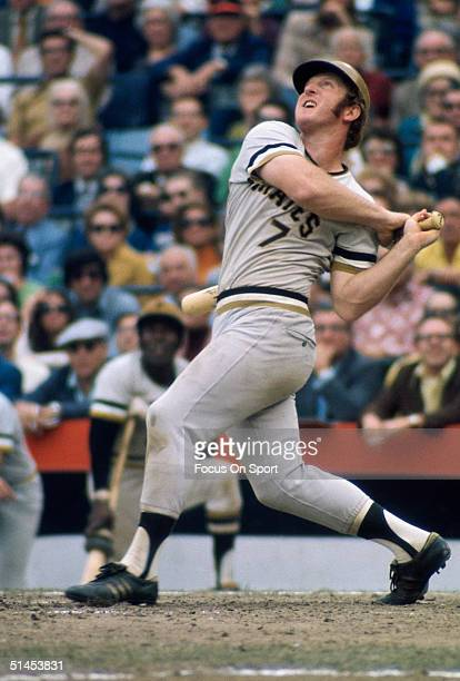 Bob Robertson of the Pittsburgh Pirates swings hard during the World Series against the Baltimore Orioles at Memorial Stadium on October 1971 in...